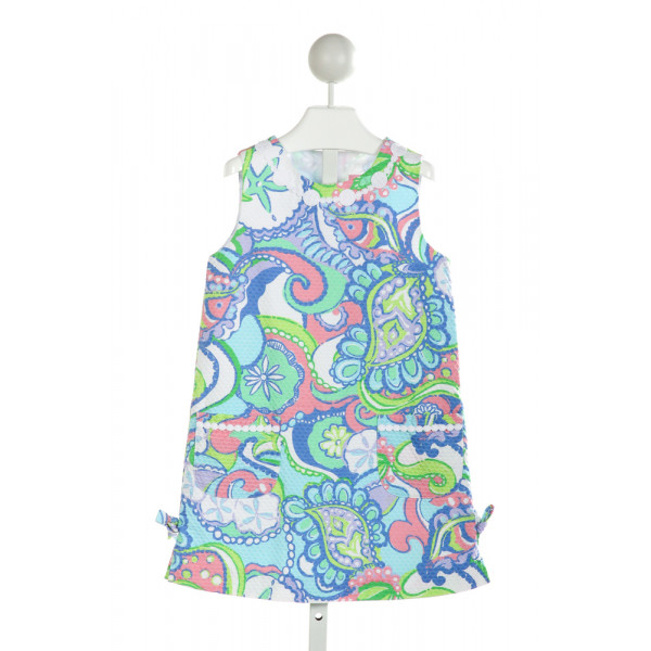 LILLY PULITZER  MULTI-COLOR PIQUE PRINT EMBROIDERED DRESS