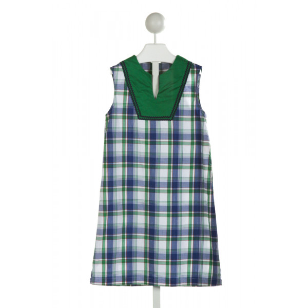 HANNAH KATE  BLUE  PLAID  DRESS WITH RIC RAC