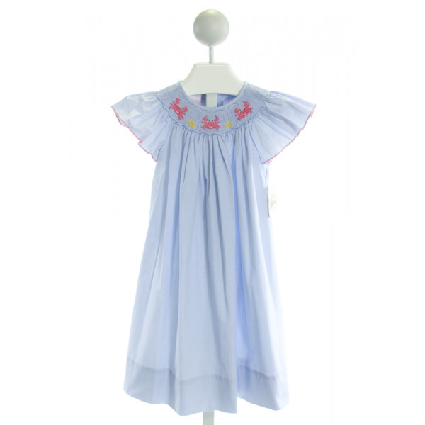 PETIT BEBE  LT BLUE  MICROCHECK SMOCKED DRESS WITH PICOT STITCHING