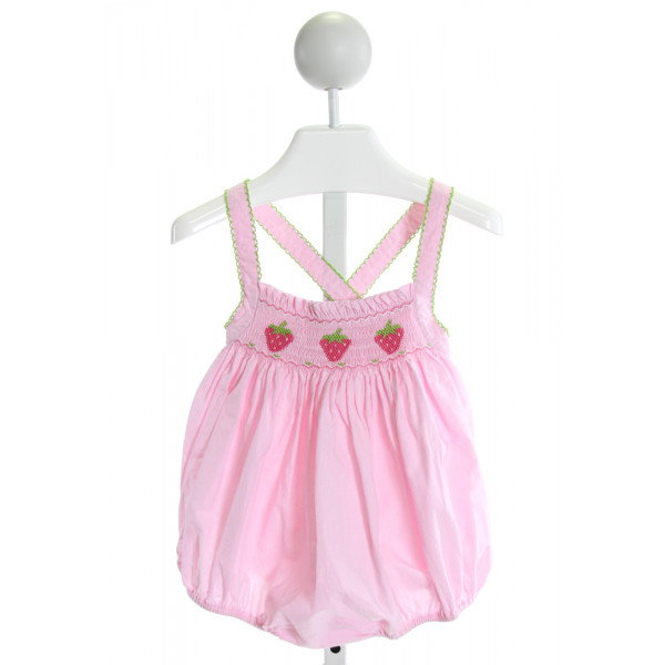 PETIT BEBE  PINK  MICROCHECK SMOCKED BUBBLE WITH RUFFLE