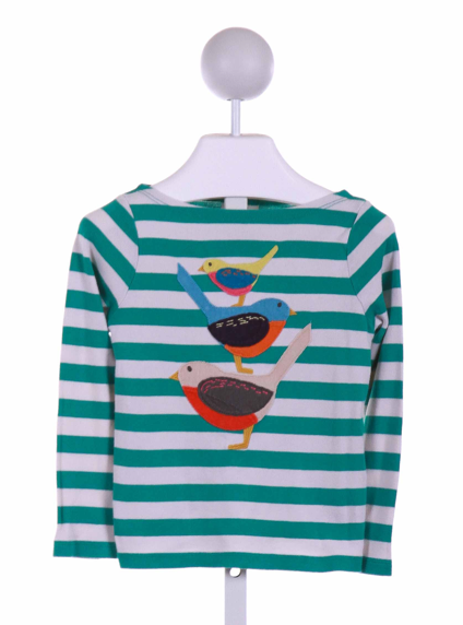Mini Boden Teal Striped Applique Knit Shirt