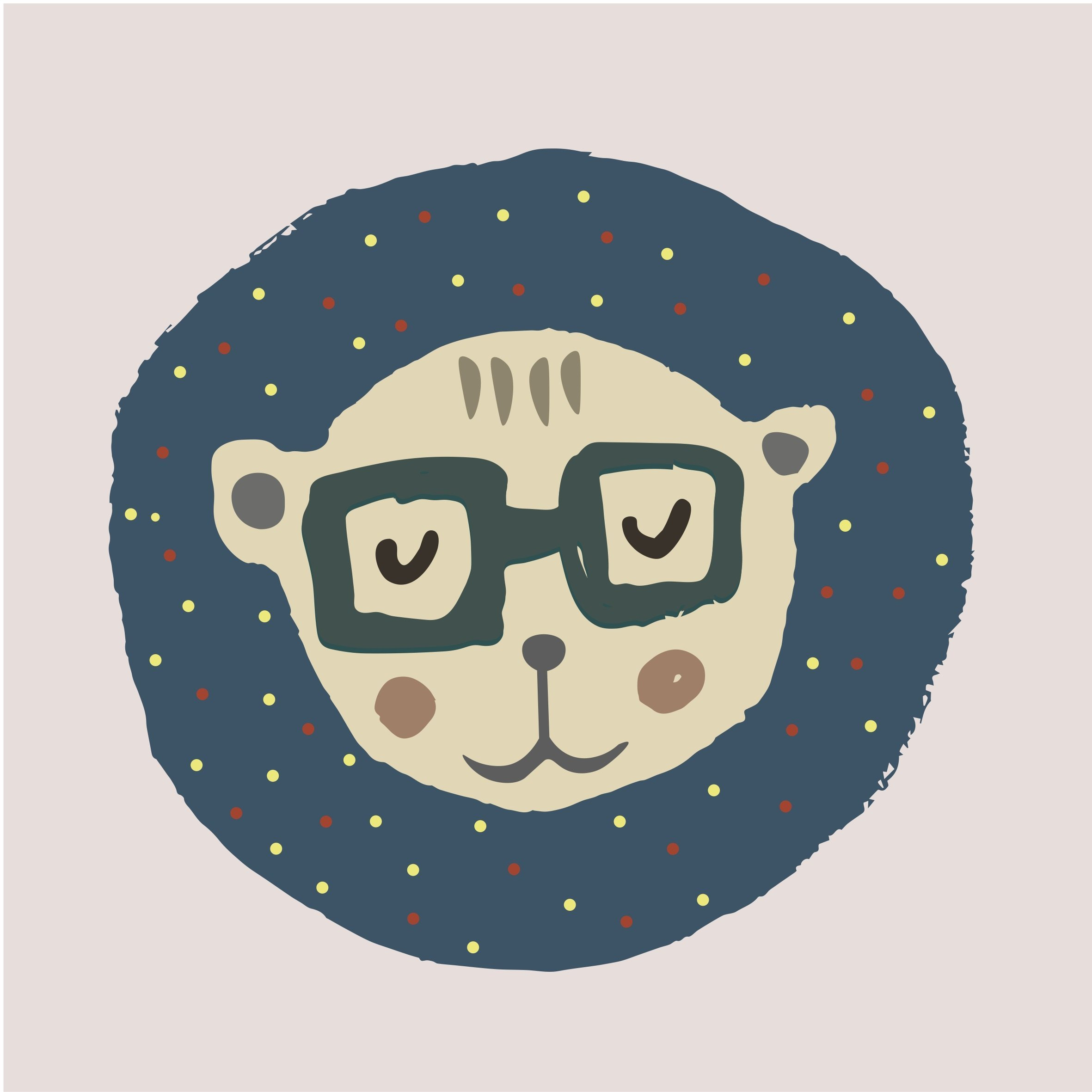 Cartoon Bear with Glasses on Polka Dot Background